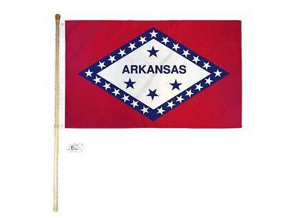 1.5m M Holz Flaggenstange Set Wandhalterung Halterung mit 3x5 Arkansas Stateroom