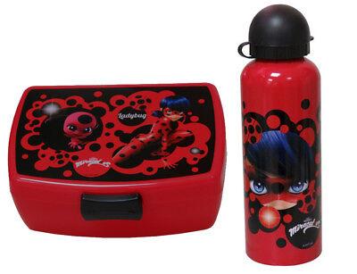 Ladybug Miraculous Set Alu - Trinkflasche + Brotdose Brotbüchse Lunchbox
