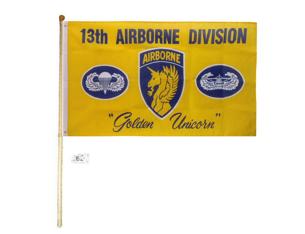 5' Wood Flag Pole Kit Bracket W/ 3x5 13th Airborne Division