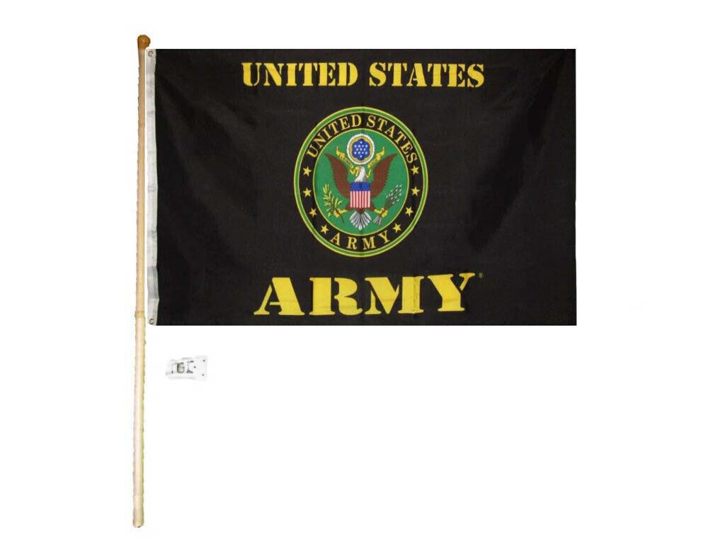 5/' Wood Flag Pole Kit Wall Mount Bracket With 3x5 United States Army White Flag