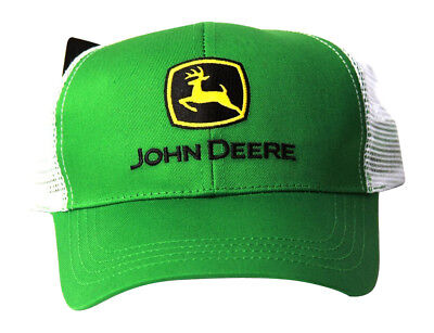John Deere Adjustable Trucker Mesh Strap Hat, Green White