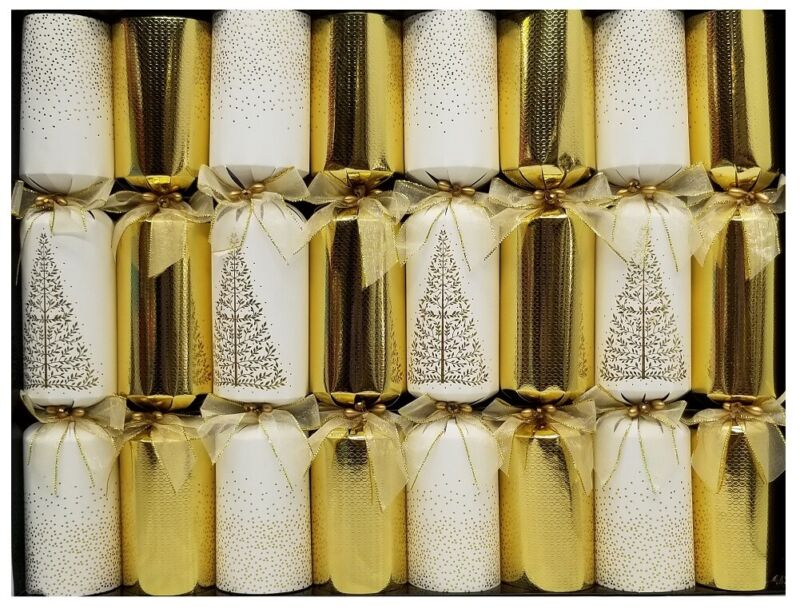 Tom Smith Holiday 14inch Festive Luxury Favors 8Pack White/Gold