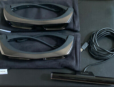Original Sony TDG-BR 100 Two 3D Glasses & Sony TMR-BR 100 Sync Transmitter Set