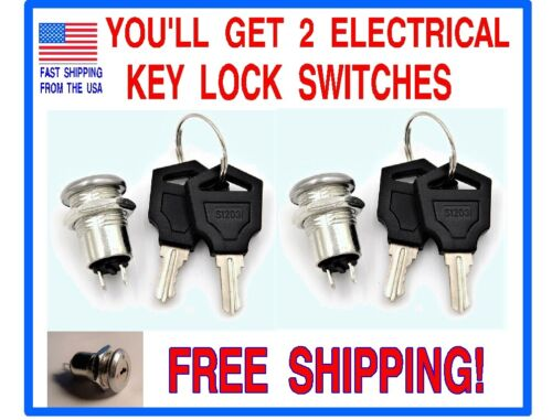 (2) 12 VOLT D.C. ON/OFF KEY LOCK SWITCHES WITH 4 KEYS.