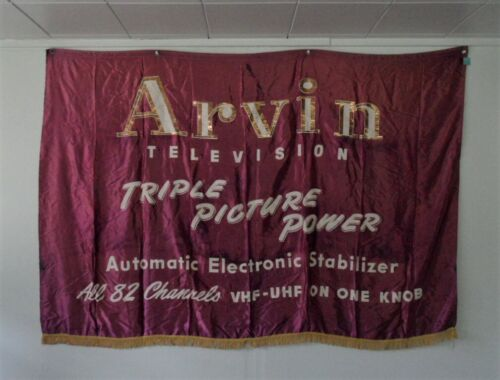 >orig./Rare!! Arvin Industries ARVIN TELEVISION Huge 64X45 *Fringed Banner-Sign*