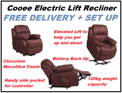 BRAND NEW Chocolate Electric Lift Recliner Chair FREE DELIVERY