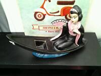 Retro chinese lady in a boat large ornimate very unusual
