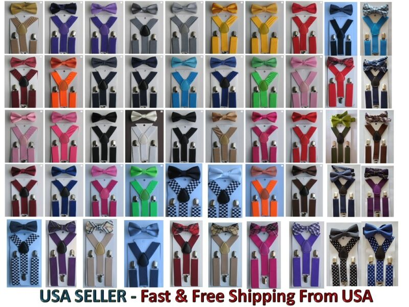 New Suspender and Bow Tie Sets for Boys Girls Kids Child Children -Ship from USA