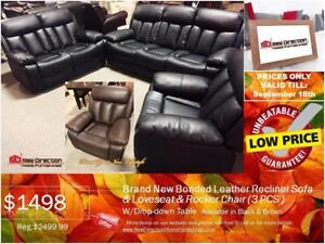 Lowest Deal Guarantee!Brand New 3pcs Bonded Leather Recliner Set@New Direction Home Furnishings