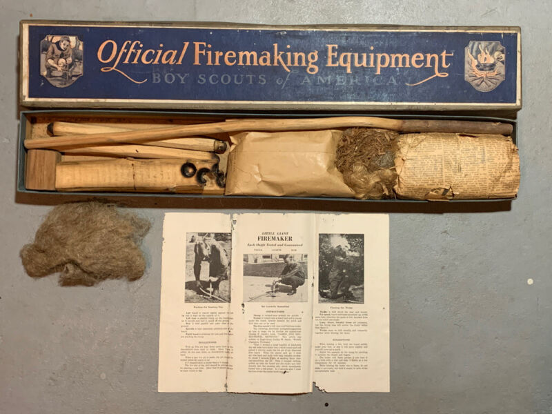 Rare Vintage Boy Scouts of America Official Firemaking Equipment Kit