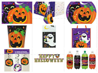 Happy Halloween Party Range Decorations - Cups Plates Napkins Tablecover - Halloween Plates Cups Napkins