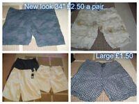 mens shorts size 34 inch waist, large and Xlarge