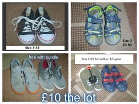 boys shoes size 3 £10 the lot or prices on pictures from a smoke and pet free home