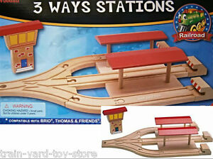 3 way TRAIN STATION + BUFFERS + TOWER + Wooden Railway Track Thomas Brio comp