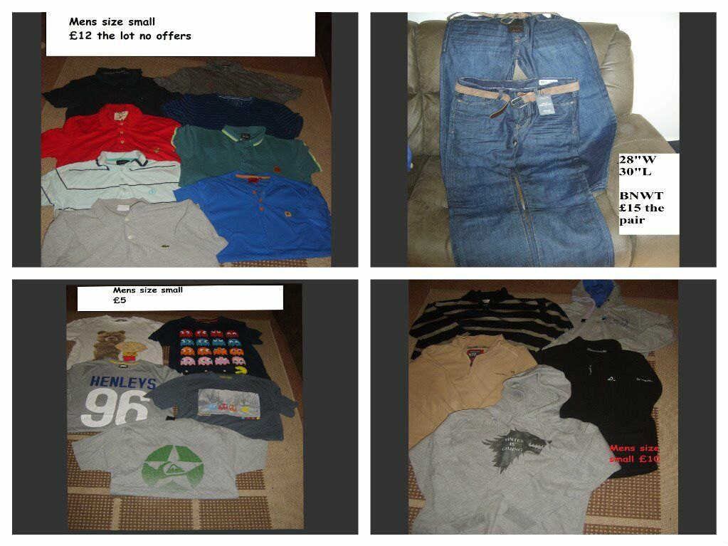 """bundle of mens t-shirts size small jeans 28"""""""