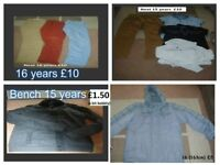 boys clothes 14-16 years prices on pictures bodywarmer 15 years £3.50 or £22.50 the lot