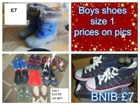 Boys shoes size 1 from a smoke and a pet free home collection only from Didcot