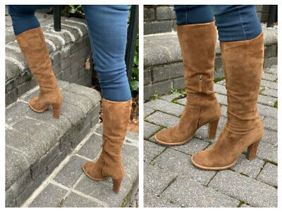 MOSCHINO CHEAP AND CHIC BROWN SUEDE TALL  BOOTS W/ HEELS GORGEOUS! 36.5 6.5