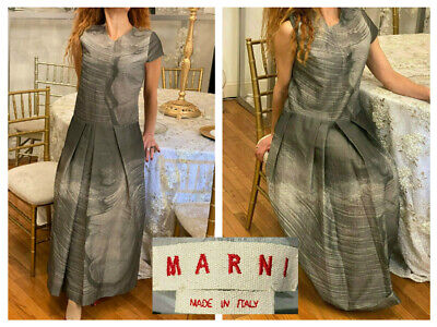 MARNI MADE ITALY SILVER GRAY CAP SLEEVE SILK TAFETTA PLEATED LONG DRESS GOWN 4/6