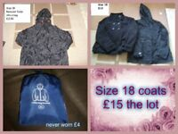 Ladies coats size 18 prices on pictures or £15 the lot -collection from Didcot