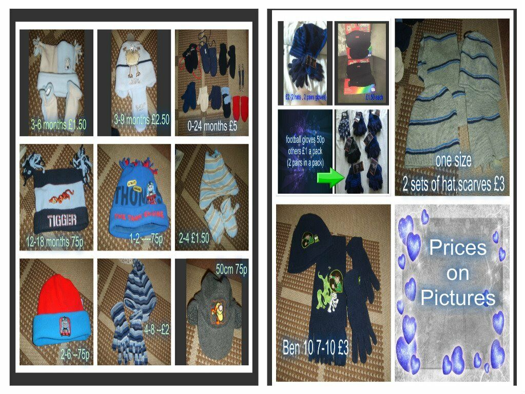 boys coats, scarves and hats, gloves prices on pictures 6months-15 years