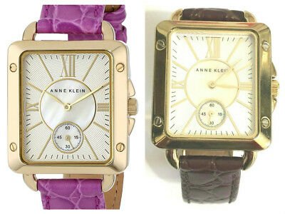Anne Klein   AK/1402MPMB Rectangular Mother of Pearl Brown Leather Strap Watch