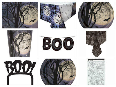 Spooky Night Halloween Party Decorations - Cups Plates Napkins Tablecover Banner (Halloween Party Cups)