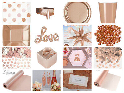 Rose Gold Party Tableware Napkins Cups Plates Straws Crystals Confetti Candles (Gold Tableware)