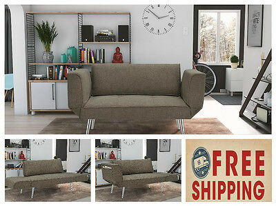 Futon Sleeper Loveseat Twin Sofa Dorm Furniture Gray Couch Bed Chair Room Office