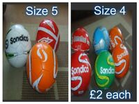 footballs- size 3 and 4 6 size 4 sondico footballs £2 each 3-size 5 £2 each or £15 the lot