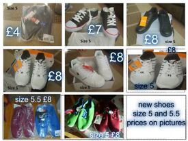 unisex boys/girls/ladies trainers/canvas shoes all new prices on picture £4-£8 a pair