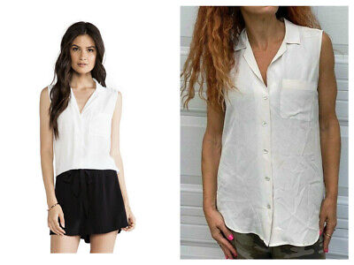 EQUIPMENT Keira  Pearl  Silk Sleeveless Button Blouse Chest Pocket Top S $188