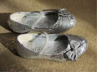 Girls silver party shoes size 10