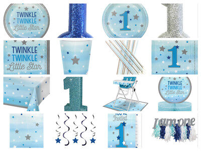 One Little Star Boys 1st First Birthday Party Bags Cups Plates Napkins Invites](Little Boys Birthday)