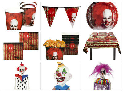 Horror Clown Halloween Party Decorations - Pennywise Cups Plates Napkins Bunting (Halloween Party Cups)