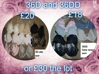 Ladies bras size 36d and 36dd some never used £30 the lot from a smoke and pet free home