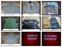 boys clothes 13-14 years prices on pictures or £10 the lot can send more pictures