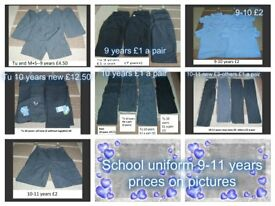 school uniform bundle 7-12 years trousers from a £1 a pair collection from didcot