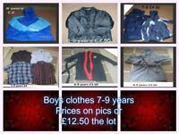 boys clothes 7-9 years from a smoke and pet free home -prices on pictures or £12.50 the lot