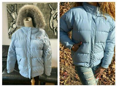 The North Face 550 APPROACH Nuptse Blue Down Puffer Jacket Coat Fur Hood Girls L Womens Hooded Nuptse Jacket