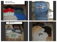 bundle of mens t-shirts size small jeans 28inch prices on pics £30 the lot