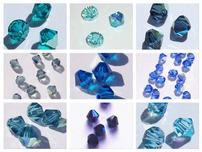 Swarovski bicone Austrian crystal beads faceted BLUE AB 3mm 4mm 6mm 8mm