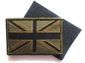 GB UNION JACK PATCH velcro backed UBAC army olive military flag badge UK Forces