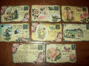 8 x Vintage FAIRIES on POSTCARDS GIFT  tags   mini album scrap book TOPPERS