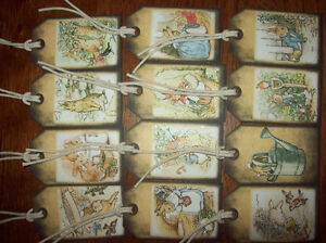 12 Vintage style  Beatrix potter Peter Rabbit  Gift tags  mini album scrap book
