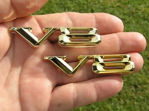 V8-METAL-BADGES-PAIR-Gold-Plated-Metal-Wide-V8-Emblems-NEW-UNIQUE
