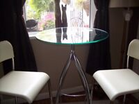 TABLE AND HIGH CHAIRS