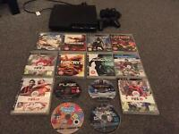 PS3 slim +2 controllers+14 games