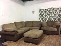 New jumbo cord corner+swivel chair+footstool**Free delivery**