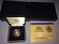2002 UNITED KINGDOM GOLD PROOF SOVEREIGN WITH COA